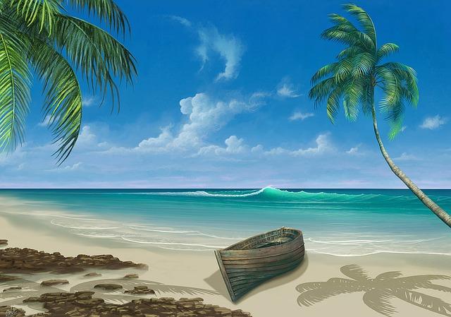 člun na pláži